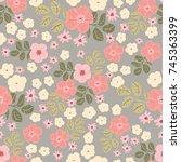pretty vintage feedsack pattern ... | Shutterstock . vector #745363399