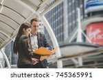business colleague talking and... | Shutterstock . vector #745365991