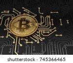 golden bitcoin on circuit board ... | Shutterstock . vector #745366465
