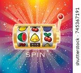vector golden slot machine ... | Shutterstock .eps vector #745367191