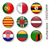 set of world flags round badges ... | Shutterstock .eps vector #745370959