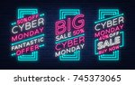 cyber monday a set of banners... | Shutterstock .eps vector #745373065