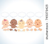 multiracial babies with speech... | Shutterstock .eps vector #745373425