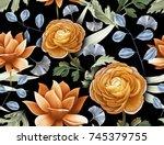 seamless tropical flower  plant ... | Shutterstock . vector #745379755