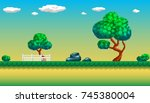 pixel art seamless background.... | Shutterstock .eps vector #745380004