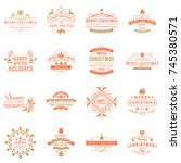 set of merry christmas and... | Shutterstock .eps vector #745380571