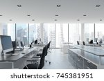 open space office interior with ... | Shutterstock . vector #745381951
