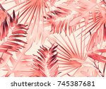 tropical palm leaves. seamless... | Shutterstock . vector #745387681