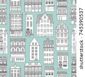seamless pattern with little... | Shutterstock .eps vector #745390537