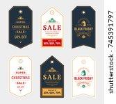 set of badges christmas sale... | Shutterstock .eps vector #745391797