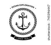 maritime symbols logo   anchor... | Shutterstock .eps vector #745396447