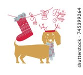 vector illustration of merry... | Shutterstock .eps vector #745399264