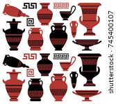 amphoras with an antique greek...   Shutterstock .eps vector #745400107