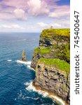 cliffs of moher ireland travel... | Shutterstock . vector #745400647