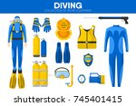 scuba diving sport equipment... | Shutterstock .eps vector #745401415