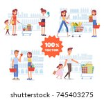 people shopping in supermarket. ... | Shutterstock .eps vector #745403275