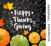 thanksgiving day card with... | Shutterstock .eps vector #745404994