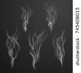 set of cigarette smoke waves  ... | Shutterstock .eps vector #745408015