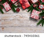 3d rendering light christmas... | Shutterstock . vector #745410361