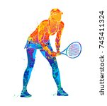 tennis player  silhouette | Shutterstock .eps vector #745411324