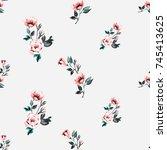vintage traditional pink flower ... | Shutterstock .eps vector #745413625