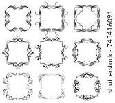 set of vector vintage frames on ... | Shutterstock .eps vector #745416091