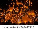 flying sky lantern on yeepeng... | Shutterstock . vector #745417915