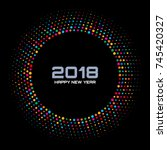 new year 2018 card background.... | Shutterstock .eps vector #745420327