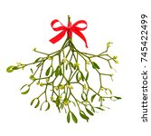 photo of a bunch of mistletoe... | Shutterstock . vector #745422499