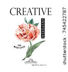 flowers and slogan  | Shutterstock .eps vector #745422787
