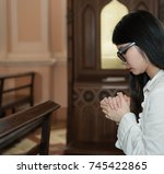 a lady confess for a sin with... | Shutterstock . vector #745422865