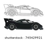 detailed side of a flat black... | Shutterstock .eps vector #745429921