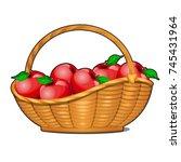 wicker basket filled with ripe... | Shutterstock .eps vector #745431964