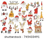 set of christmas and new year... | Shutterstock .eps vector #745433491
