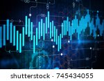 abstract digital business chart ... | Shutterstock . vector #745434055
