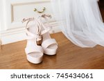 bridal pink shoes standing in... | Shutterstock . vector #745434061
