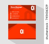 business cards orange | Shutterstock .eps vector #745436329