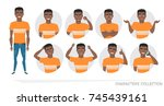 set of emotions and gestures to ... | Shutterstock .eps vector #745439161