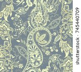 seamless paisley pattern in... | Shutterstock .eps vector #745440709