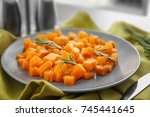 plate with delicious sliced... | Shutterstock . vector #745441645