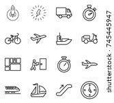 thin line icon set   rocket ... | Shutterstock .eps vector #745445947