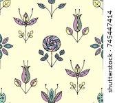 seamless hand drawn pattern ...   Shutterstock . vector #745447414