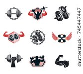 set of vector gym theme... | Shutterstock .eps vector #745447447