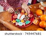 happy little child  cute girl... | Shutterstock . vector #745447681