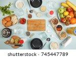 healthy breakfast. various... | Shutterstock . vector #745447789