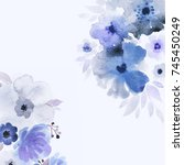 blue and violet wildflowers...   Shutterstock . vector #745450249