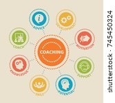 coaching. concept with icons... | Shutterstock . vector #745450324