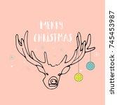 merry christmas cute greeting... | Shutterstock . vector #745453987