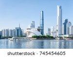 scenic white tourist boat... | Shutterstock . vector #745454605
