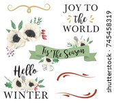 christmas watercolor banners... | Shutterstock . vector #745458319